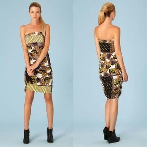 Hale Bob Floral Printed Strapless Ruched Dress XS